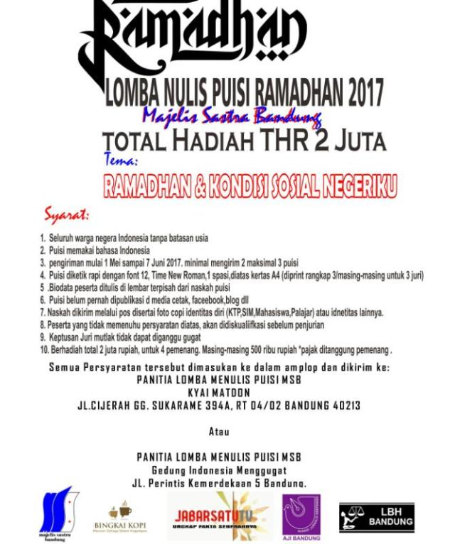 Lomba Menulis Puisi Ramadhan 2017 oleh Majelis Sastra Bandung (DL: 7 Juni 2017)