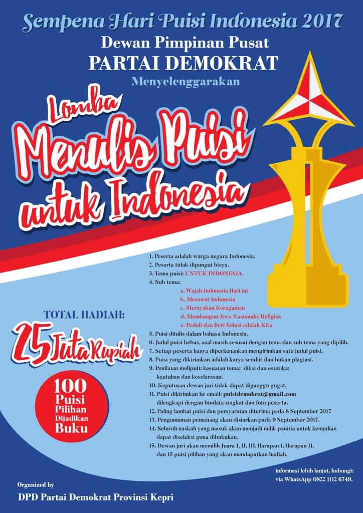 Lomba Puisi untuk Indonesia, DL 8 September 2017