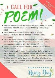 Banjarbaru's Rainy Day Literary Festival 2018 (DL: 25 Oktober 2018)