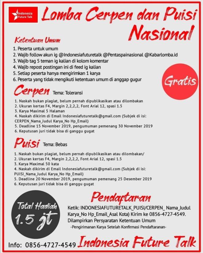 Lomba Cerpen dan Puisi Nasional oleh Indonesia Future Talk